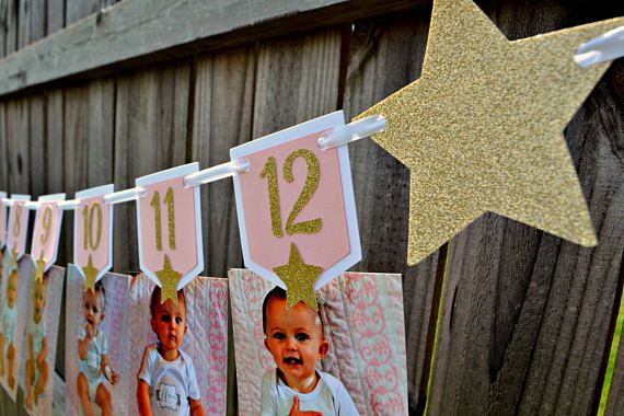 Twinkle Twinkle Little Star First Birthday Photo Banner.