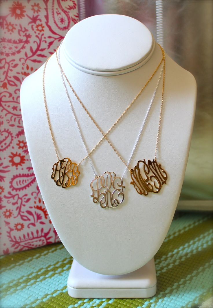 Hand Cut Gold & Silver Monogram Necklaces from Swell Caroline.  Sizes from left to right - Small Gold Filled {1inch} , Medium Sterling {1.25 inches} & Medium Sterling {1.25 inches}