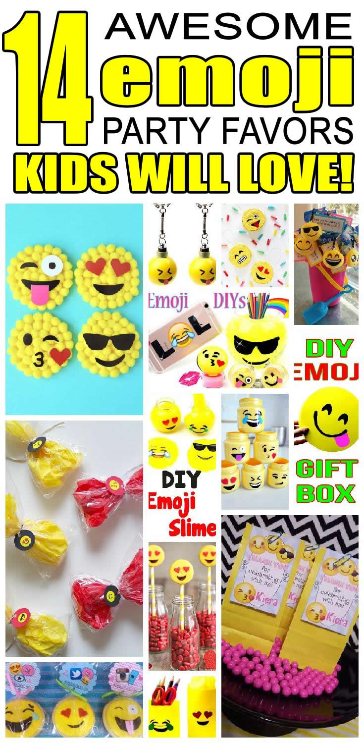 14 emoji party favor ideas for kids. Fun and easy emoji birthday party favor ideas for children.