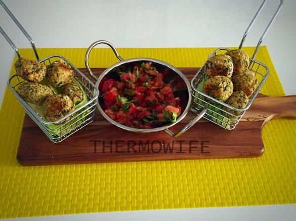 Thermomix oven-baked Fallafel balls with Tahini + almond meal