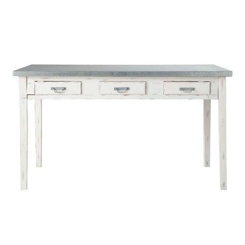 Tavolo grigio per sala da pranzo in legno L 140 cm