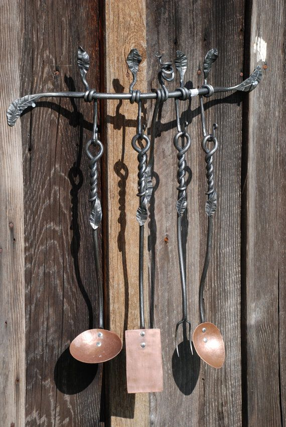 Clearance Hand Forged Kitchen Utensil Set W Leaf Detail