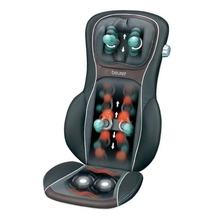 •Masaje penetrante de vuelta 3D  •Regulable en altura Shiatsu masaje en el cuello (2 dedos de masaje)  •Masaje en lugar especifico  •Calmante masaje rodante  •Con luz conmutable y función de calefacción  •Asiento de cubo ergonómico  •Masaje relajante vibración y calefacción en los asientos  •Fundas lavables (40 ° C)  •Con práctico gancho para facilitar el almacenamiento en los armarios  •Fácil manejo   •Zonas de masaje se puede seleccionar (superior, espalda baja, completo…