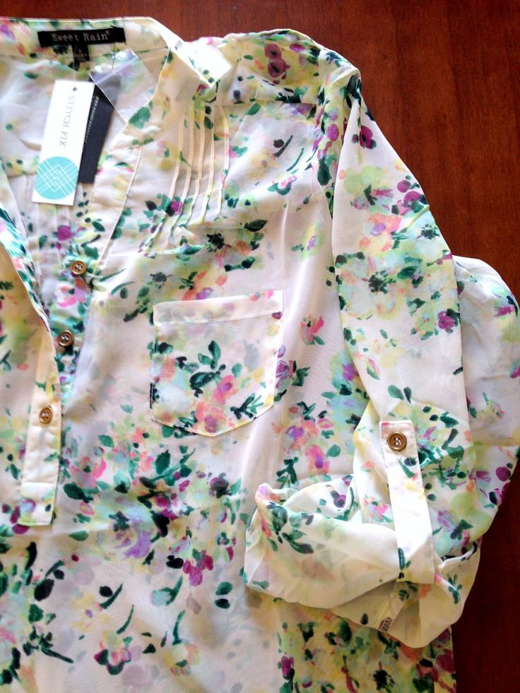 Sweet Rain Isaac Floral Print Tab-Sleeve Blouse (This is the blouse I kept from my first Stitch Fix order.)