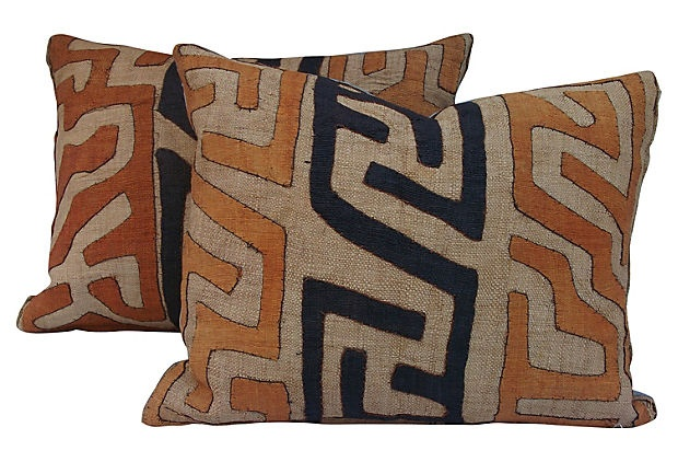 African Tribal Textile Pillows Pair Products Textiles
