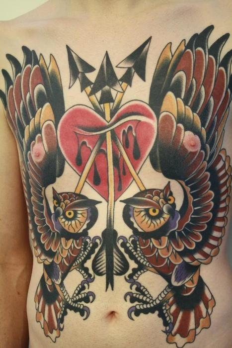 Nipple owls rare species phoenix tattoo ideas for Nipple tattoo heart
