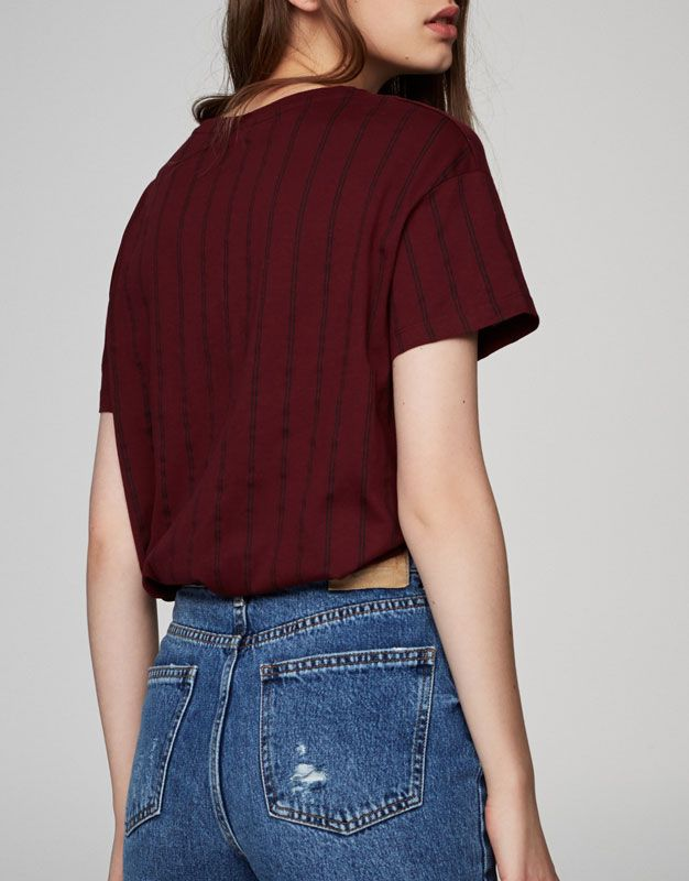 Maglietta a righe maniche corte - Magliette - Abbigliamento - Donna - PULL&BEAR Italia