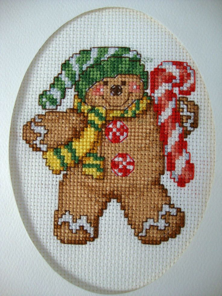 "COMPLETED FINISHED CROSS STITCH CARD ""GINGERBREAD BOY 2"""