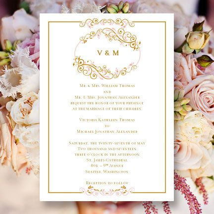 Printable Wedding Invitation Template Madelyn Blush Pink Gold