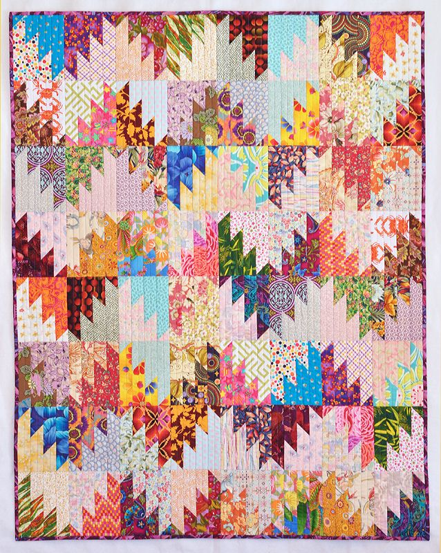 Scrappy Mountain Majesties quilt by Quilternity's Place. Tutorial by Bonnie Hunter.