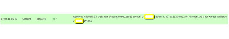 I am getting paid daily at ACX and here is proof of my latest withdrawal. This is not a scam and I love making money online with Ad Click Xpress  http://www.adclickxpress.is/?r=qgzmr7jje6qzbr&p=ajgbm  The amount of 9.7 USD has been deposited to your Perfect Money account. Accounts: U4962269->UXXXXXXX. Memo: API Payment. Ad Click Xpress Withdraw 4XXXXXX-453066.. Date: 06:12 01.07.16. Batch: 138219023