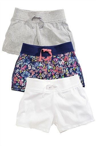 "Girls Clothing Online - 3 to 16 years - ""Next Floral Print, White And Grey Shorts Three Pack (3-16yrs)"""