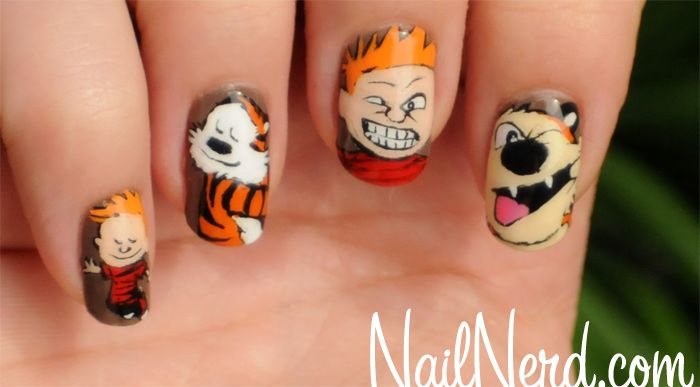 Calvin & Hobbes Manicure by Nail Nerd: seeing as how this was my absolute favorite comic book as a kid, how can I NOT love this?