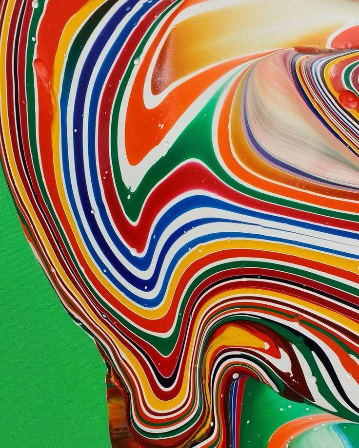 Detail - work in progress   #dericksmith #dublin #modernart #detail #wip #studio #contemporarypainting #wave #contemporaryart #paint #painting #paintings #fineart #art #colourful #catalhoyuk #change #flow #melt #drip #peinture #blend #acrylic #munich #green