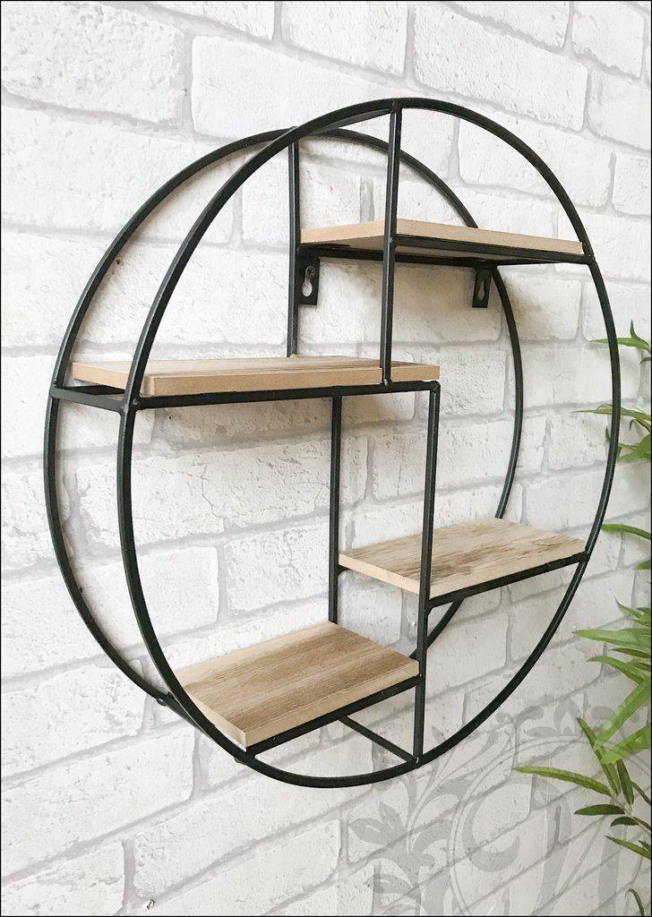 Retro Style Wall Shelf Black Round Circle Metal And Wood Shelving Unit