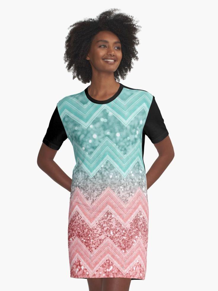"""Summer Vibes Glitter Chevron #1 #coral #mint #shiny #decor #art "" Graphic T-Shirt Dress by anitabellajantz   Redbubble"