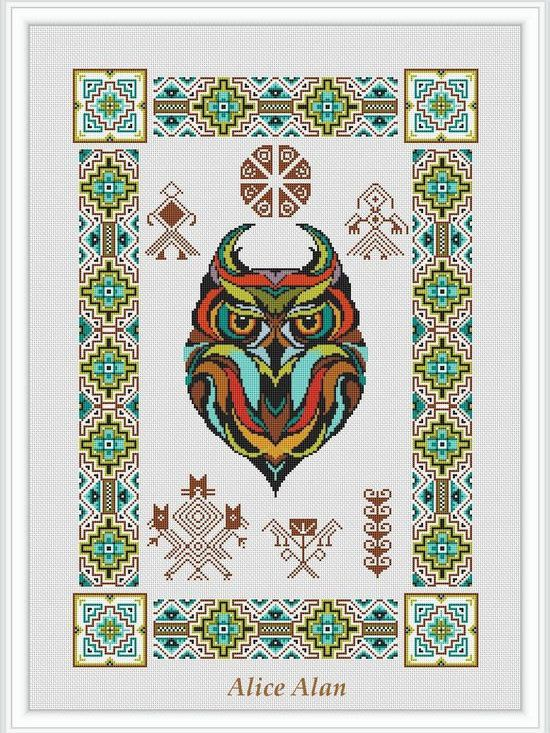 Cross Stitch Pattern Sampler Owl totem ornament Indians (Ethnic owl) Counted Cross Stitch Pattern / Instant Download Epattern PDF File