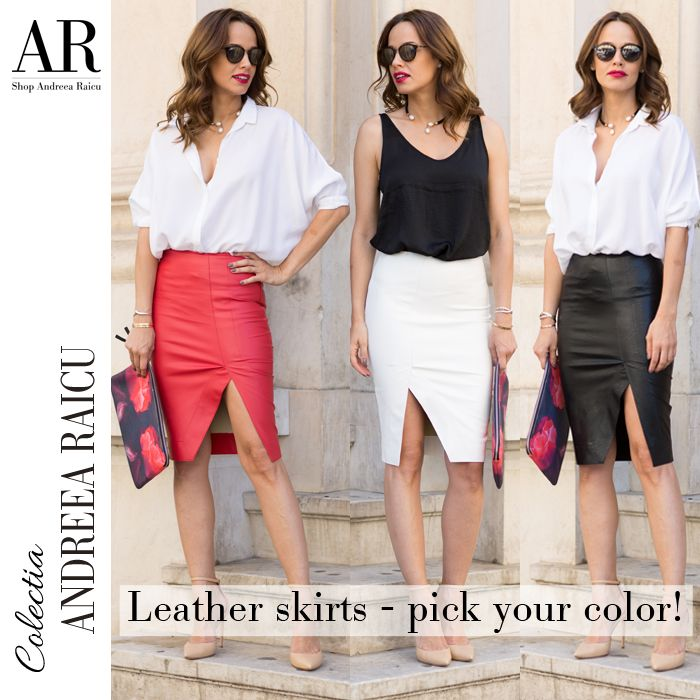 The leather skirt is a must have for summer nights! Which one is your favourite? Click to buy it online. - Andreea Raicu