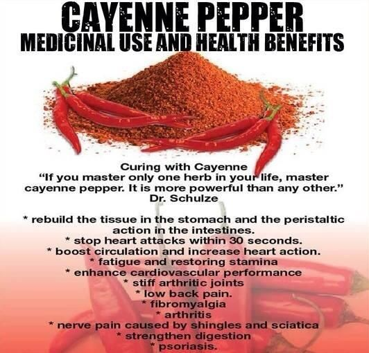 Cayenne pepper quickly stops serious bleeding (internal or external) or heart attack. Be sure to buy organic and not irradiated.