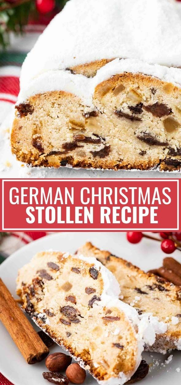 German Stollen is loaded with rum raisins, candied fruit, and nuts