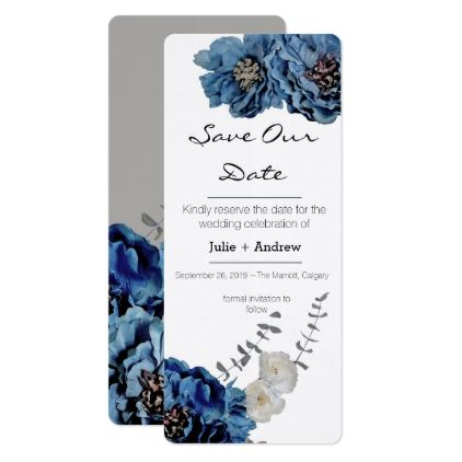 #Blue Velvet Flower Save Our Date Card - save the date #savethedate #weddinginvitations #wedding #invitations #party #card #cards #invitation #save