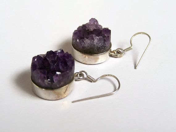 Natural Amethyst drusy sterling silver by MilenasBoutique on Etsy