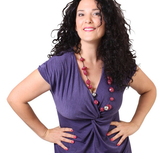 Purple Twist Dress INCLUDES PLUS SIZE with capped sleeve. $69.00, via Etsy.