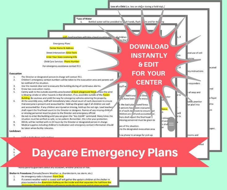 DAYCARE EMERGENCY PLANS / Childcare center printable