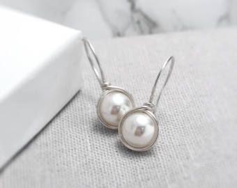 Pendientes de plata de la perla | Birthstone de junio | Perla pendientes de Reino Unido | Pendientes de perlas marfil | Pendientes de perlas de plata | Reino Unido de la joyería de la perla