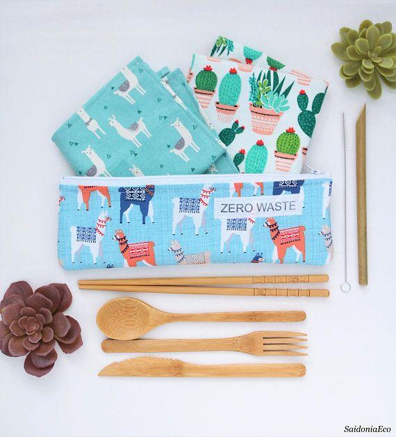 Zero waste kit Reusable Bamboo Utensils Set Zero waste cutlery bag Plastic free minimalist travel ec – Etsy