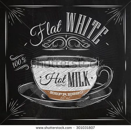 Poster coffee flat white in vintage style drawing with chalk on the blackboard
