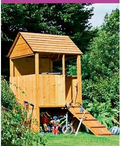 Raised playhouse with bike storage beneath!