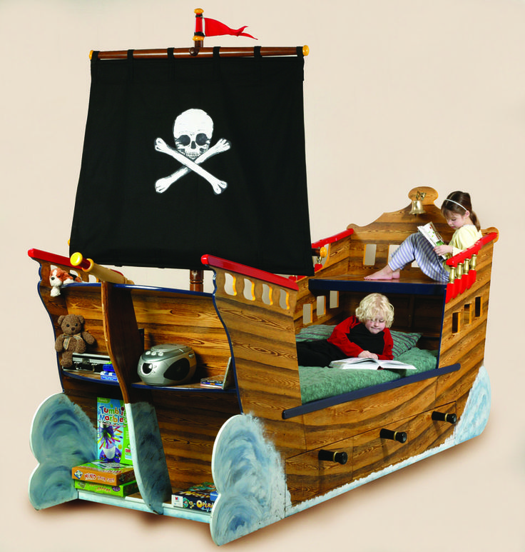 Children reading Pirate ship bed wooden childrens beds bedroom furniture