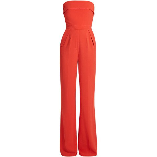 Elie Saab Strapless crepe jumpsuit found on Polyvore featuring polyvore, women's fashion, clothing, jumpsuits, cocktail jumpsuit, elie saab, red strapless jumpsuit, elie saab jumpsuit and evening jumpsuits