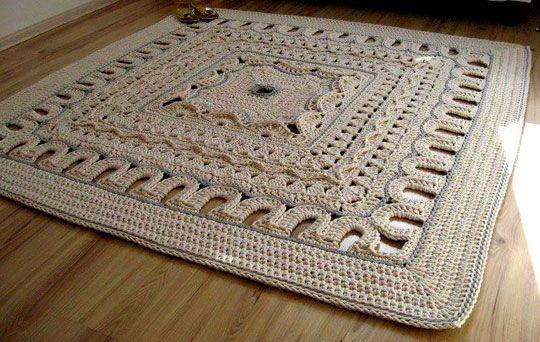 Схема вязания и пошаговые фото-инструкции вязания крючком коврика из шнура