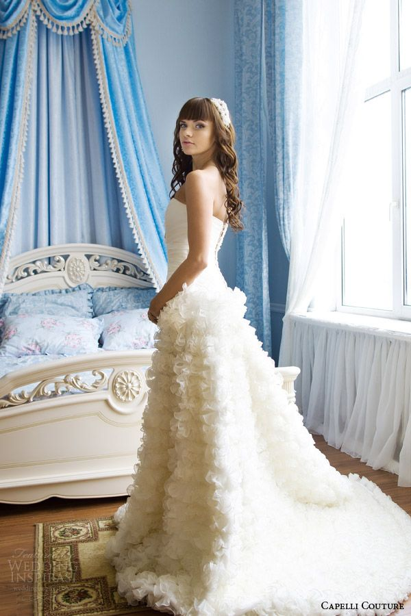 capelli couture 2014 wedding dress full light blue bedroom shoot  Does it come in short and poofy??