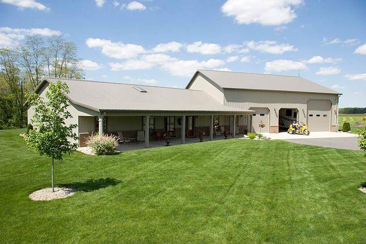 pole barn homes | Metal Barn Homes | Pole Barn Home with Heated Garage | Lafayette ...