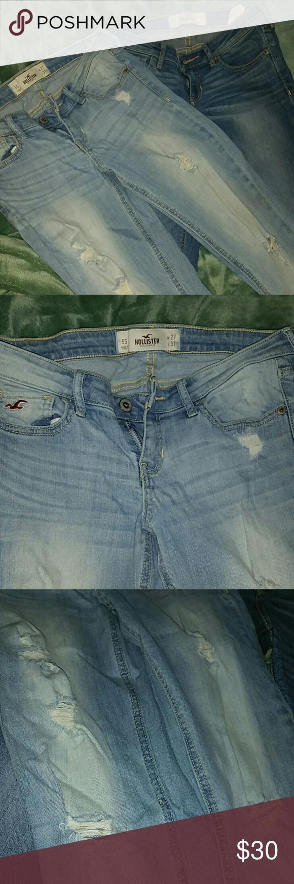 Hot deal!!! 2 Hollister boot cut jeans! Great quality Hollister boot cut jeans. First pair is light blue with rips & the second pair is medium blue with a light fading to it. Size 5s (short) two jeans for the price of one! Hollister Jeans Boot Cut