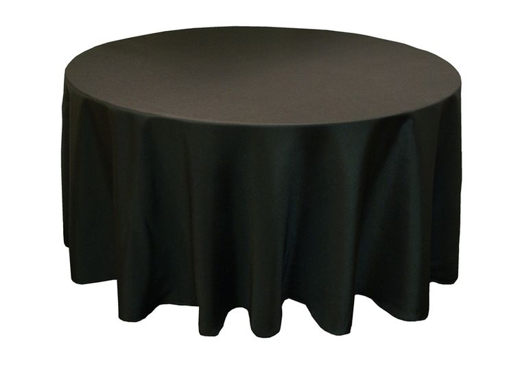 """Black 120"""" Round Polyester Tablecloth"""