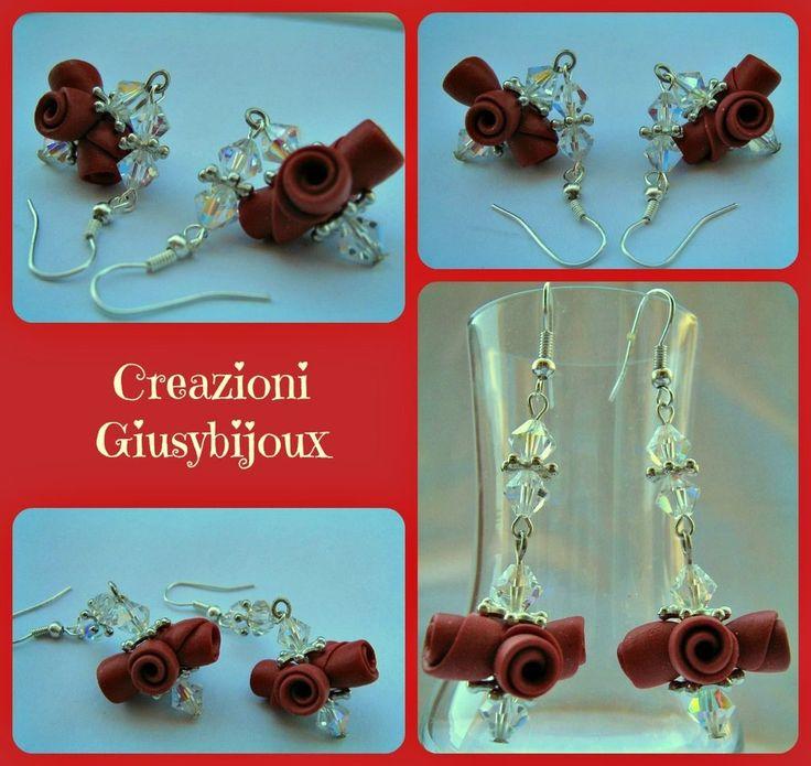 Orecchini rossi pendenti  swarovski con Bouquet di roselline in fimo fatto a mano, by Creazioni Giusybijoux, 18,00  su misshobby.com