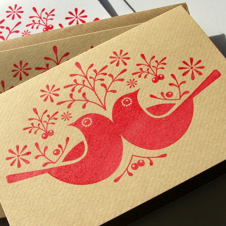 Image of 6 Hand Printed 'Birds & Berries' Christmas Cards.