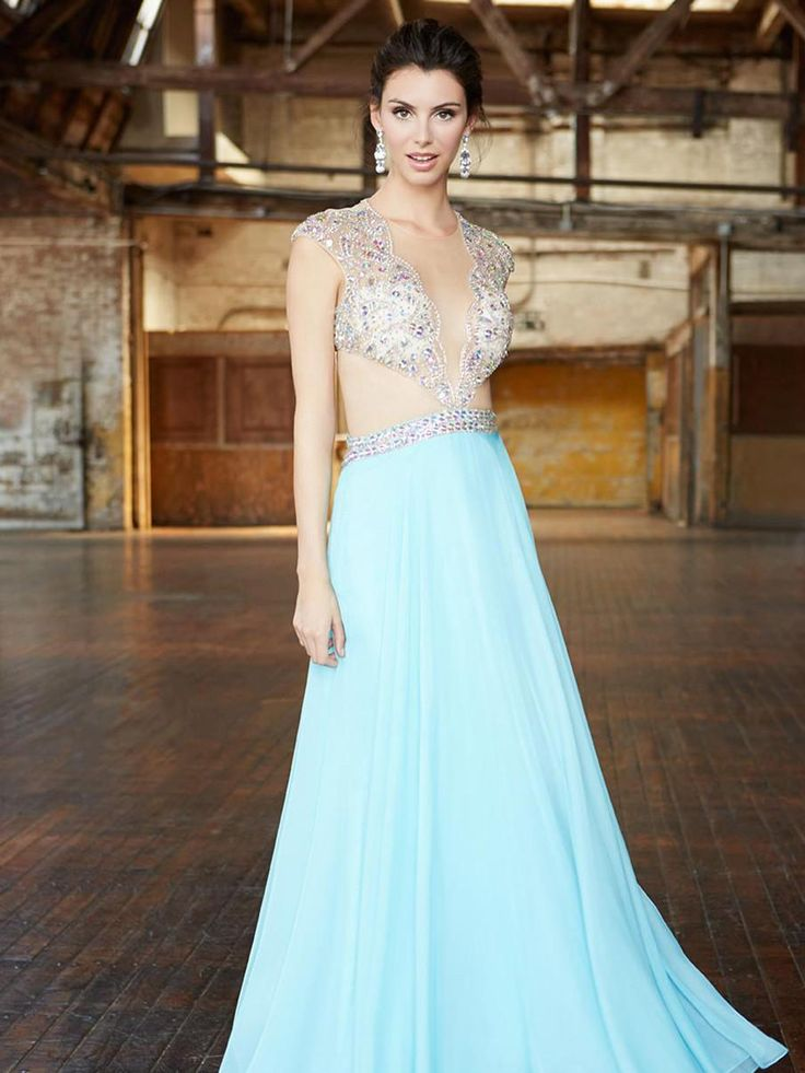 2015 A-Line Prom Dresses Crew Sheer V-Neck Blue Chiffon Luxury Special Occasion Formal Evening Gowns Sleeveless Illusion Back Floor-Length Online with $197.91/Piece on Beautydoor's Store   DHgate.com