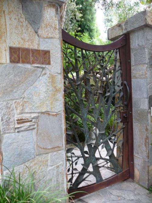Wood and steel artisnal gateSusan Jay, Wrought Iron Gates, Garden Gates, Trees Branches, Gardens Gates, Entry Gates, Gates Design, Fence Design, Jay Design