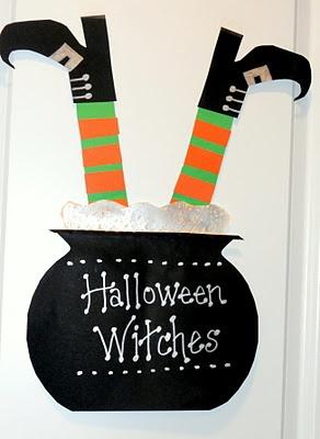 Cut paper witch legs in cauldron- 3rd