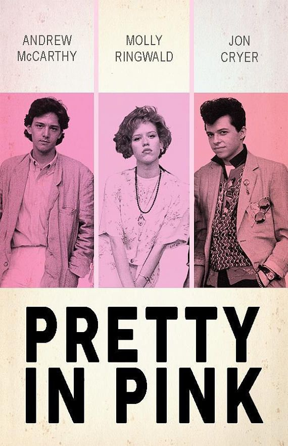 PRETTY in PINK- Film poster- minimalist film poster- 80s movies- 80s prints- pink poster- authentic poster- 80s film posters- romantic