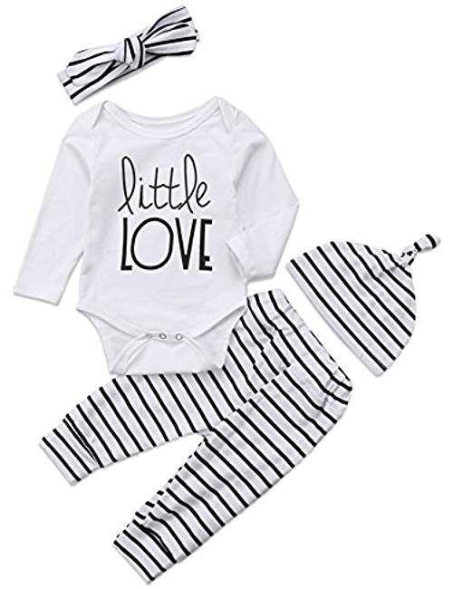 36ff215b6b69 4Pcs/Set Baby Boy Girl Love Long Sleeve Romper Bodysuit+Striped  Pants+Hat+Headband Outfits