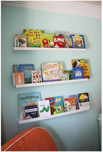 I would love to put a small shelf (similar to one of these) in lieu of a border around the top of GJ's room.  It could house paintings from Grady's and my childhood, perhaps some books we don't read very often and our ever abundant nick nacks.  Any suggestions? Votes?  Other pictures to help me brainstorm?