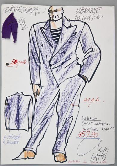 """Jerzy Antkowiak, projekt garnituru dla """"Mody Polskiej"""", 1990 r., wł. MNK #PRL #Moda Polska #Polish Fashion #Jerzy Antkowiak"""