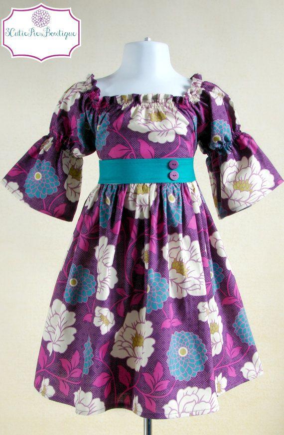 Floral dress, Peasant dress, girls dress, toddler dress, dress-Girls sizes 6 months-5 years
