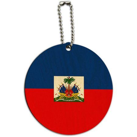 Haiti National Country Flag Round Wood ID Tag Luggage Card for Suitcase or Carry-On, Multicolor